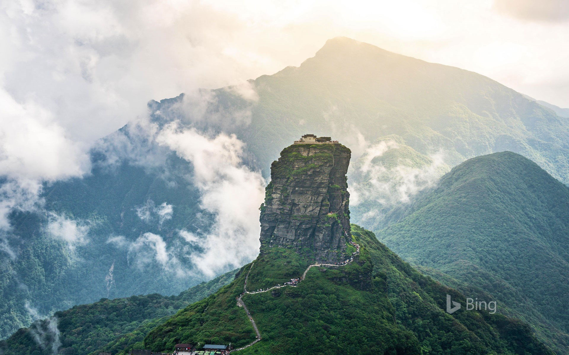 Mount Fanjing, the highest peak of the Wuling Mountains, in southwest China